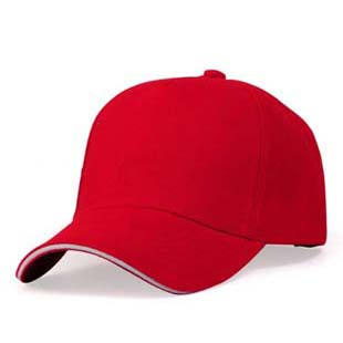red cotton cap with sandwich