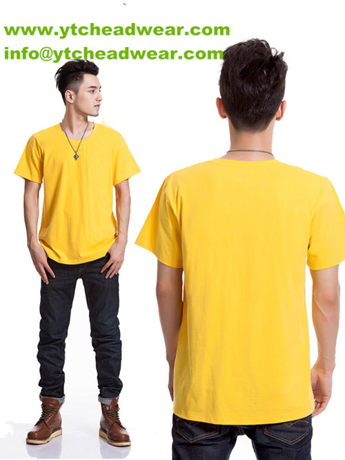 sell cotton plain T-shirts yellow color 160g