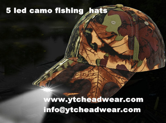 camo 5 led caps hats for fishing,hiking ,outdoor
