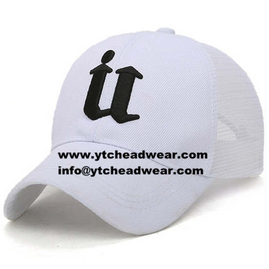 White color embroidery trucker hats with snap back