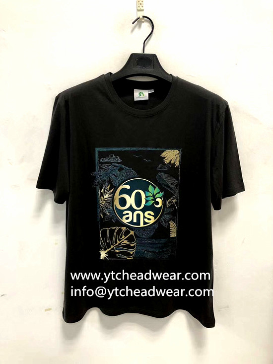 Black cotton T-shirts with logo by printing